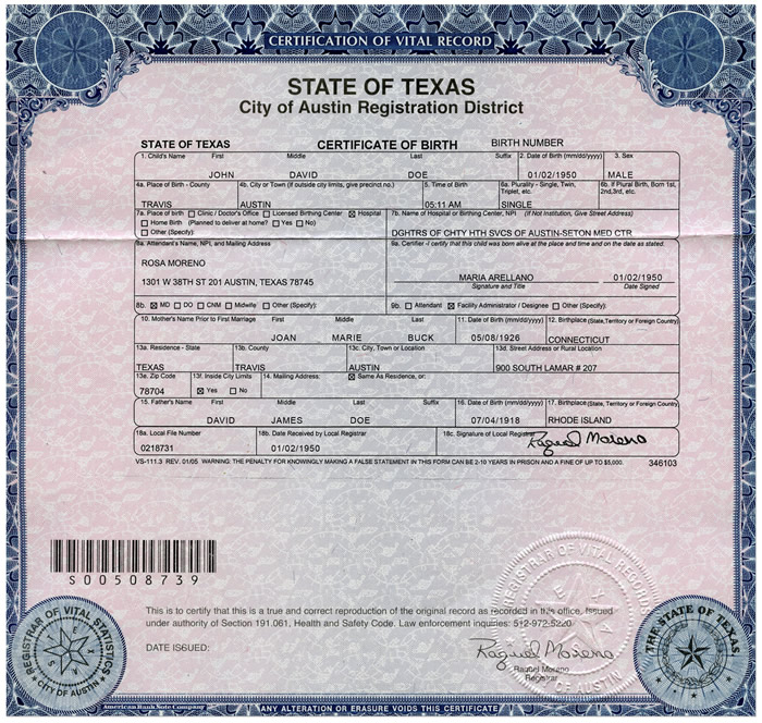 4 Sample Birth Certificate: Kidney Health Care 101: Interactive Example